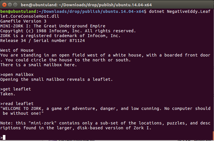C# Zork running on Ubuntu | Negative Eddy